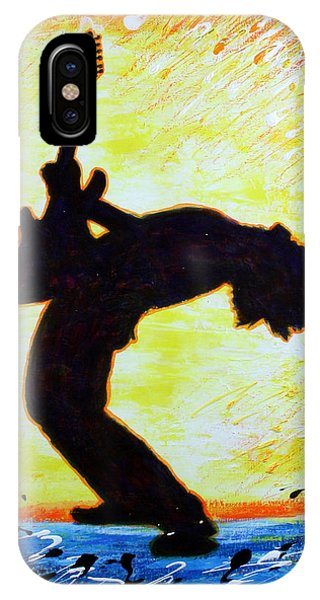 IPhone Case featuring the painting Guitarist Rockin' Out Silhouette by Bob Baker