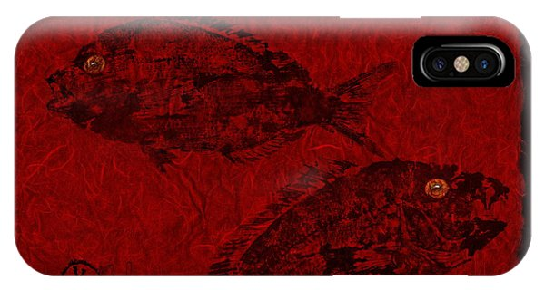 Gyotaku Scup Series 1  Red Unryu Paper IPhone Case