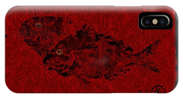 Gyotaku Scup Series 2  Red Unryu Paper IPhone Case