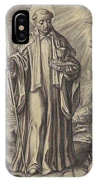 Raven iPhone Case - H Benedict Of Nursia, Hieronymus Wierix by Hieronymus Wierix