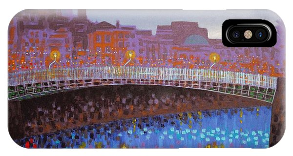 Cobalt Blue iPhone Case - Ha Penny Bridge Dublin  Cropped by John  Nolan