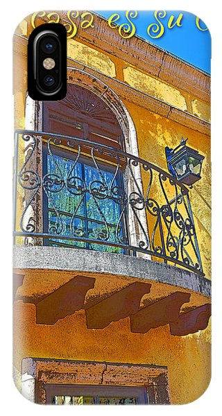 Hacienda Balcony Railing Lanterns Mi Casa Es Su Casa IPhone Case
