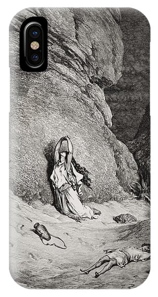 Barren iPhone Case - Hagar And Ishmael In The Desert by Gustave Dore