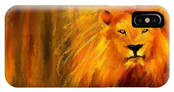 African Lion Art iPhone Case - Hail The King by Lourry Legarde
