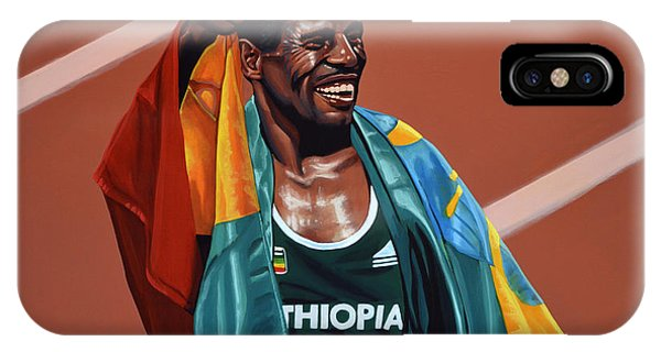 Track iPhone Case - Haile Gebrselassie by Paul Meijering