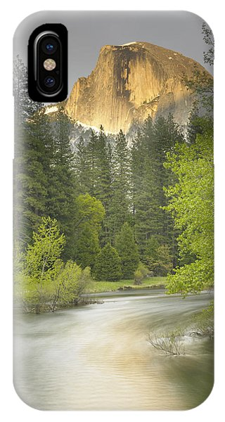 Half Dome And The Merced River At Sunset IPhone Case