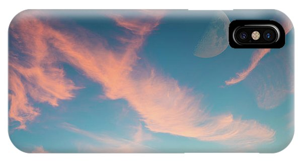 Half Moon iPhone Case - Half Moon In Sky With Pink Clouds by Wladimir Bulgar/science Photo Library