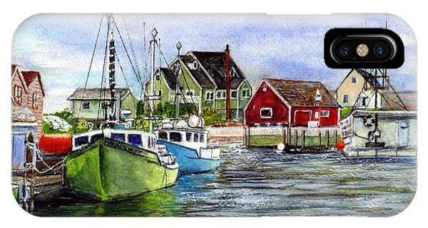 Peggys Cove Nova Scotia Watercolor IPhone Case