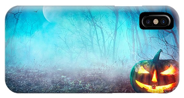 Cemetery iPhone Case - Halloween Background. Spooky Pumpkin by Mythja