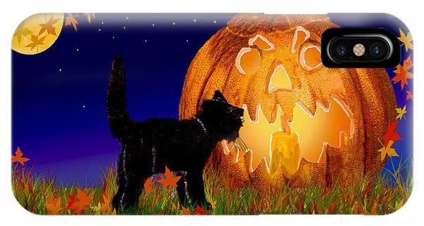 Halloween Black Cat Meets The Giant Pumpkin IPhone Case