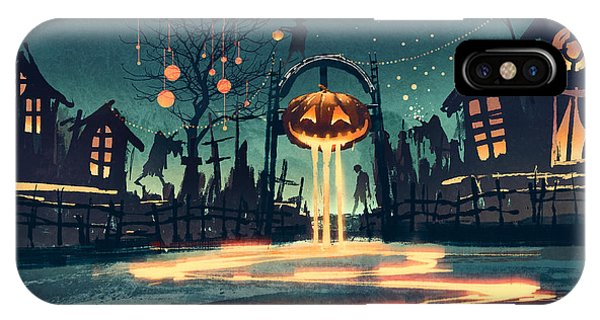 Cemetery iPhone Case - Halloween Night With Pumpkin And by Tithi Luadthong