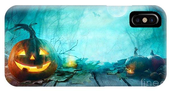 Bat iPhone Case - Halloween Pumpkins On Wood. Halloween by Mythja
