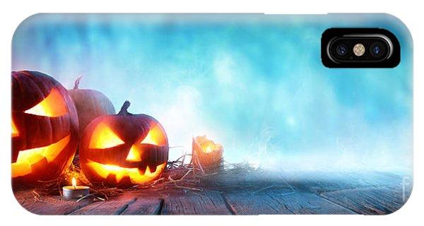 Halloween Pumpkins On Wood In A Spooky Phone Case by Romolo Tavani
