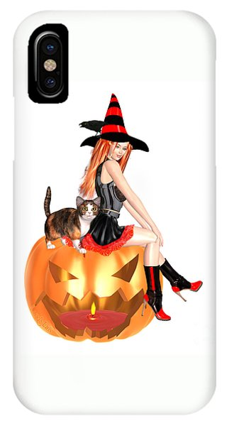 Luxmaris iPhone Case - Halloween Witch Nicki With Kitten by Renate Janssen
