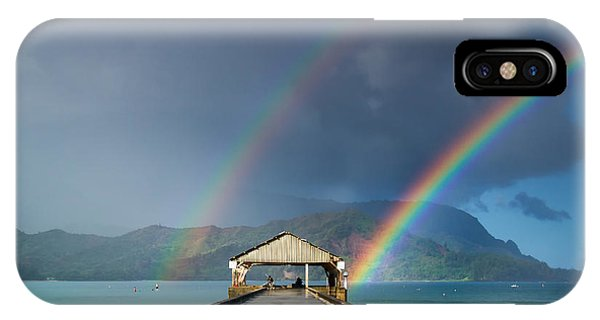 Hanalei Pier And Double Rainbow IPhone Case