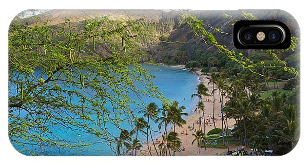 Hanauma Bay Nature Preserve Beach Through Monkeypod Tree IPhone Case