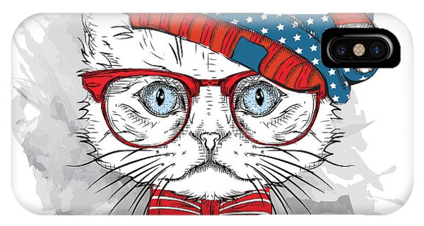 T Shirts iPhone Case - Hand Draw Cat In A Usa Hat. Vector by Sunny Whale