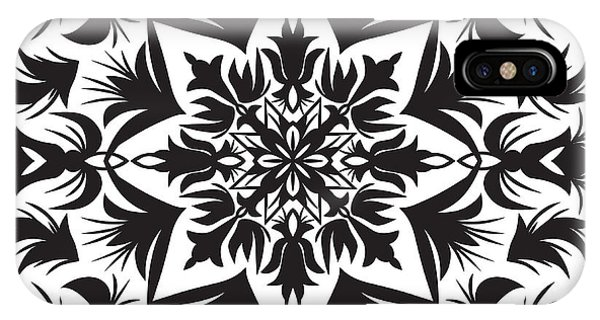 Ornamental iPhone Case - Hand Drawing Pattern For Tile In Black by Zinaida Zaiko