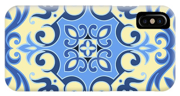 Ornamental iPhone Case - Hand Drawing Tile Pattern In  Blue And by Zinaida Zaiko