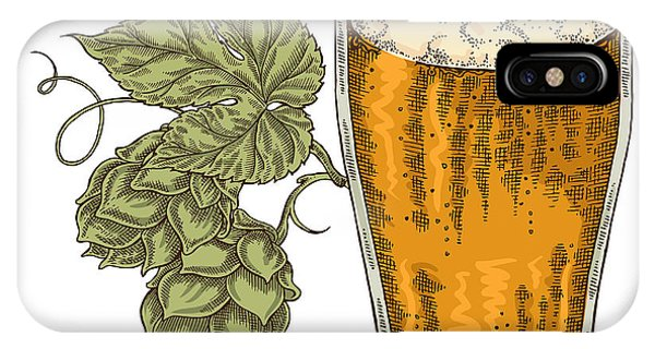 Brewery iPhone Case - Hand Drawn Beer Glass With Hops Plant by Jka