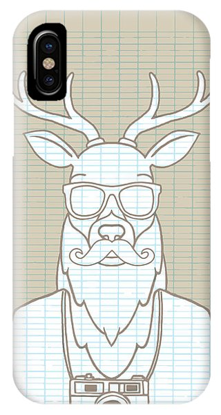 Design iPhone Case - Hand Drawn Hipster Deer In Sunglasses by 9george