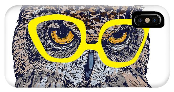 Feathers iPhone Case - Hand Drawn Owl Face With Yellow by Melek8