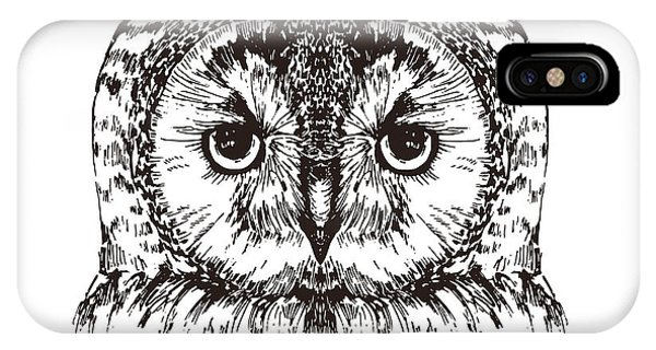 Feathers iPhone Case - Hand Drawn Owl Portrait, Vector by Melek8