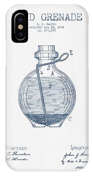 Explosion iPhone X Case - Hand Grenade Patent Drawing From 1884- Blue Ink by Aged Pixel