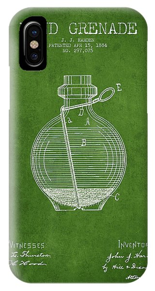 Explosion iPhone X Case - Hand Grenade Patent Drawing From 1884 - Green by Aged Pixel