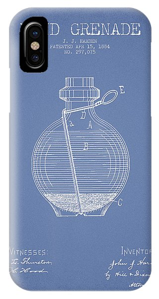 Explosion iPhone X Case - Hand Grenade Patent Drawing From 1884 - Light Blue by Aged Pixel