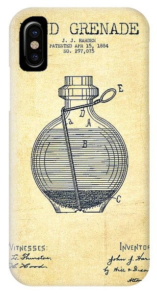 Explosion iPhone X Case - Hand Grenade Patent Drawing From 1884 - Vintage by Aged Pixel