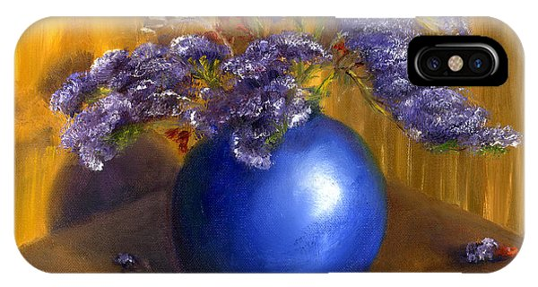 Hand Painted Still Life Blue Vase Purple Flowers IPhone Case