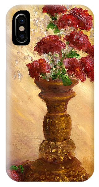 Hand Painted Still Life Red Flowers Gold Vase IPhone Case