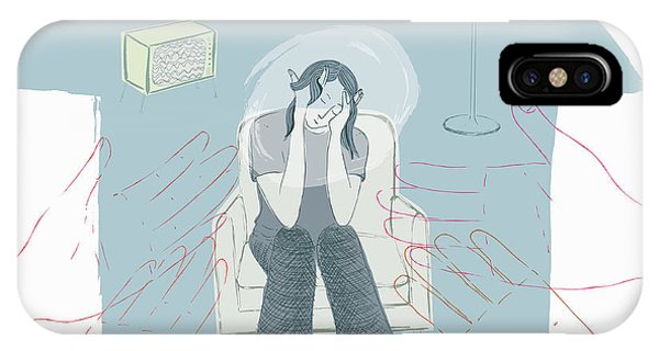 Assisted Living iPhone Case - Hands Reaching Out To Depressed by Ikon Images