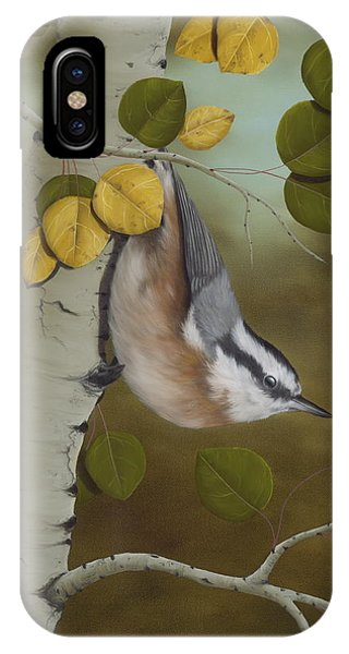 Animal iPhone Case - Hanging Around-red Breasted Nuthatch by Rick Bainbridge