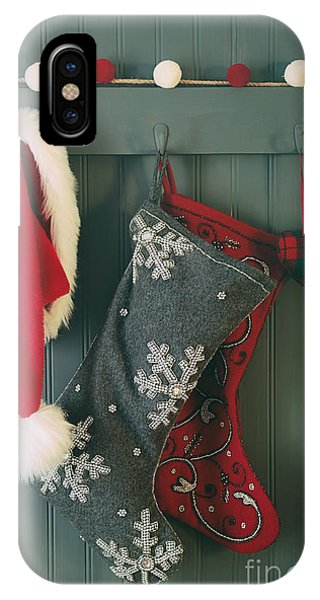 Hanging Stockings And Santa Hat On Hook IPhone Case