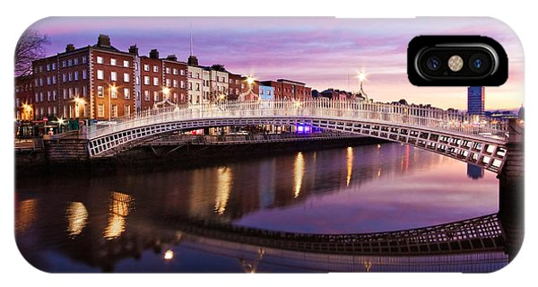 IPhone Case featuring the photograph Hapenny Bridge At Dawn - Dublin by Barry O Carroll