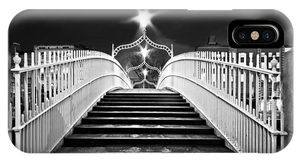 IPhone Case featuring the photograph Ha'penny Bridge Steps - Dublin - Black And White by Barry O Carroll