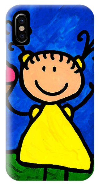 Ice iPhone Case - Happi Arte 3 - Little Girl Ice Cream Cone Art by Sharon Cummings