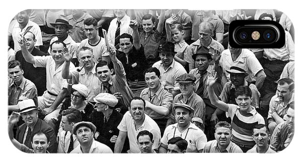 Yankee Stadium iPhone Case - Happy Baseball Fans In The Bleachers At Yankee Stadium. by Underwood Archives