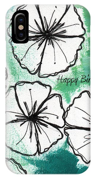 Cart iPhone Case - Happy Birthday- Floral Birthday Card by Linda Woods