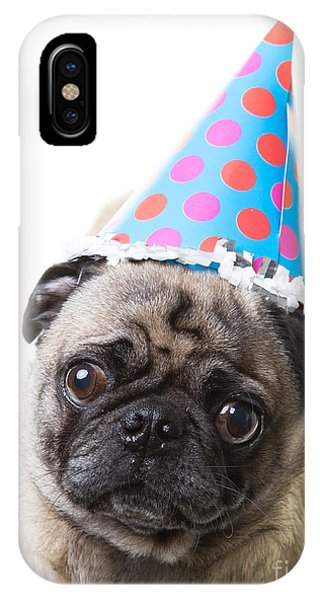 Pug iPhone X Case - Happy Birthday Pug Card by Edward Fielding