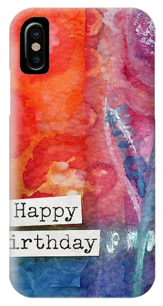 Happy iPhone Case - Happy Birthday- Watercolor Floral Card by Linda Woods