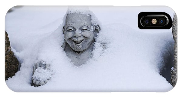 Happy Buddha In Snow IPhone Case