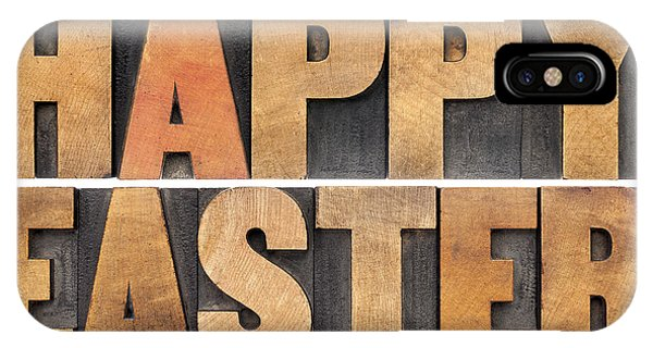 Happy Easter In Wood Type IPhone Case