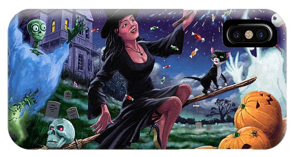 Happy Halloween Witch With Graveyard Friends IPhone Case