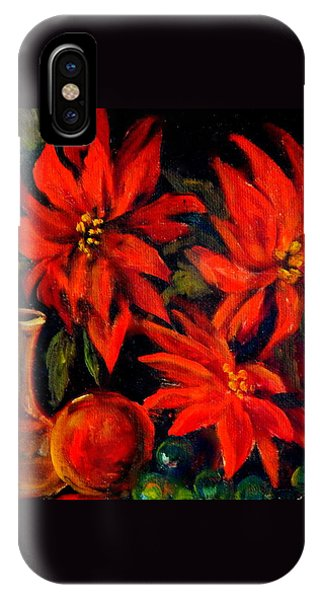 New Orleans Red Poinsettia Oil Painting IPhone Case