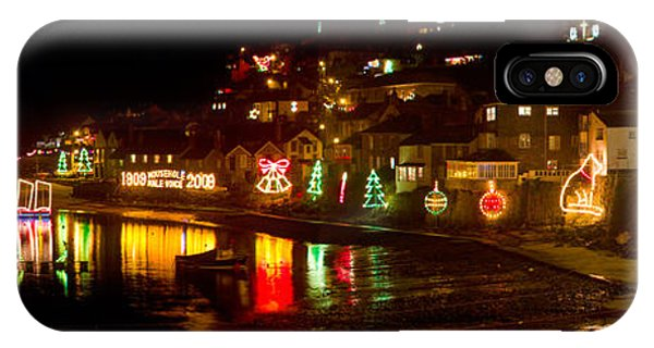 Happy New Year Mousehole Christmas Lights IPhone Case
