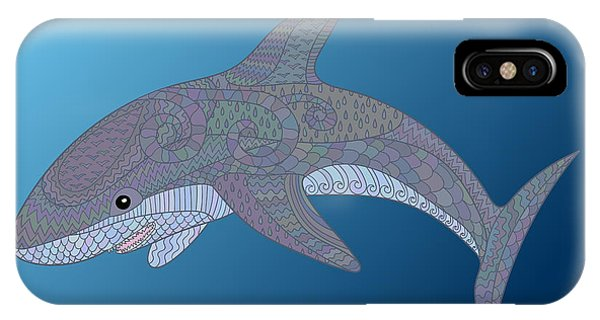 Sketch Book iPhone Case - Happy Shark With High Details. Colored by Watercolor swallow