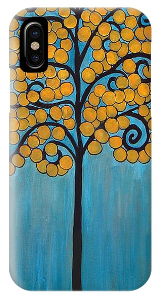 Happy Tree In Blue And Gold IPhone Case